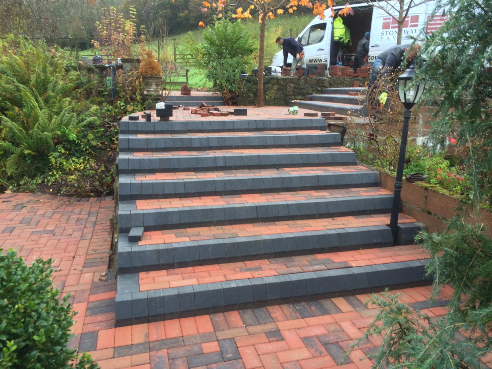 Garden Landscaping & Garden Design, Grey & Red Block Paving