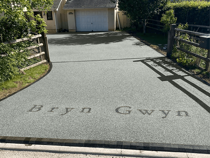 Slate Gret Resin Driveway installation in Somerset